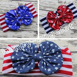 Wholesale 10pcs women baby the USA flag knotted bronzing Bow Turban Twist hair band flower th of July headband Head Wrap stripe stars HeadWrap FD6549