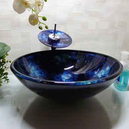 Wholesale Bathroom tempered glass sink handcraft counter top round basin wash basins cloakroom shampoo vessel bowl HX008