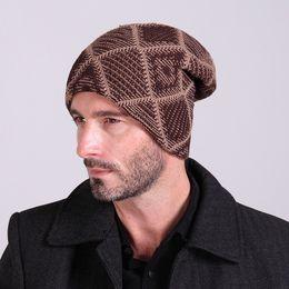 New 2015 winter Warm Plaid Knitted hats Mens velvet Woolen Turban Cap autumn Womens Toe caps Fleece Skullies Beanies Unisex hats