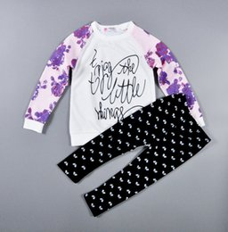 PrettyBaby Girl Kid Long Sleeve Floral Letters Sweatshirt T shirts Full Length Pants Trousers Leggings Two piece Sets Outfits in stock