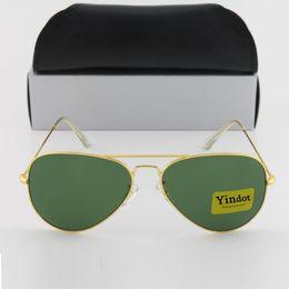 1pcs High quality Brand Designer Fashion Yindot Gold Frame Green Men Women Polit Coating Sunglasses UV400 Vintage Sport Sun glasses With box