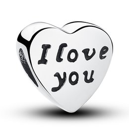 Words of Love, Heart Silver Charm with Engraving I love you, Genuine 925 Sterling Silver for Pandora Style Bracelets S219