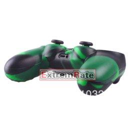 Acheter en ligne Contrôleur ps4 couvercle du boîtier-15 Styles Housse de protection en silicone pour le contrôleur Playstation 4 PS4 style noir et vert Freeshipping Wholesale
