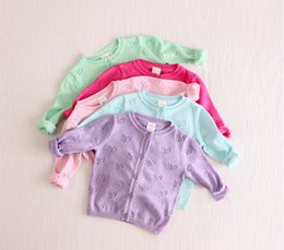 Wholesale 2015 children baby air conditioning cardigan hollow out pure cotton knitted sweater female butterfly BH1042