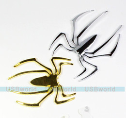 Acheter en ligne Autocollant décoration de voiture en métal-1PCS 3D Metal Spider Car Sticker Autocollant de voiture Paster Brand New Good Quality Golden or Silver