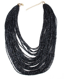 4 Mixed Color New Handmade Bohemian Fashion 50 Layers Resin Seed Beads Chain Choker Pendants Bib Necklaces Women's Statement Jewelry