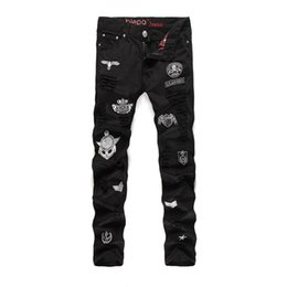 Wholesale European and American Style Air Force Badge Men s Distrressed Patchwork Jeans Scratched Hole Skinny Straight DJ Trousers