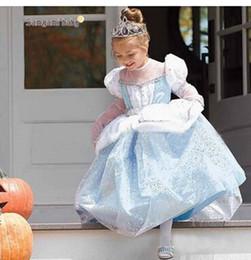 Acheter en ligne Nouvelles robes de filles de noël-2016 nouveau 1pc Anna Elsa robe Robe Princesse Robe Été longue robe de diamant manchon Costume Elsa, robe de fête de Noël marier
