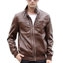Wholesale 2015 Top Quality Men PU Leather Jackets Size M XL Zipper Up Man Fashion Coats Male Motor Style Cool Outerwear Black Blue LM01007