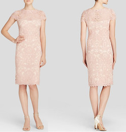 Vintage Lace Embroidery Sheath Dress Short Sleeves Party Dresses 1505 Three Color Optional