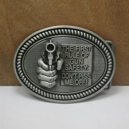 BuckleHome fashion hand gun belt buckle with pewter finish FP-03525 with continous stock free shipping
