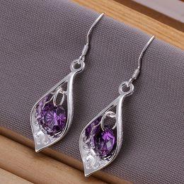 Fashion Pretty Explosion models in Europe and America Fashion Shine Purple Diamond 925 Silver Earrings silver earrings 1208