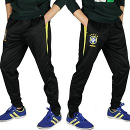 Wholesale NEW Brand New brazil team breathable soccer training calf men s sports trousers ride practice jogging pants men