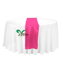 Wholesale Fuchsia Hot Pink Color Satin Wedding Table Runner Used For Table Cloth