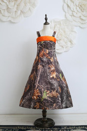 Realtree Camo Flower Girls Dresses for Wedding Party 2015 Camouflage Flower Girl Wears Spaghetti Strap Custom Made Kids Formal Party Gowns
