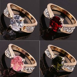 Round Irresistible Fashional 14K gold plated round zircon cut crystal woman ring 1 pcs gift Wedding Ring
