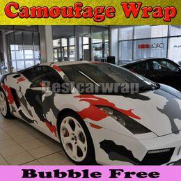 Large camo Red arctic Camo Vinyl Car Wrap Film With Air Rlease Gloss   Matt Snow Pixel CamouflageCar Sticker 1.52x30m Roll(5x100ft)
