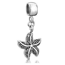 starfish sea life Dangle Spacer charm metal slide bead European pendant fit Pandora Chamilia Biagi charm bracelet