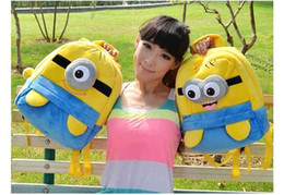 Wholesale 25cm Yellow fashion cute despicable me toddler baby boys girls backpack children pp plush minions toy school bag kids backpacks good MYF160