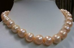 Wholesale REAL best AAA mm pink SOUTH SEA BAROQUE PEARL NECKLACE inch k