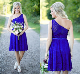 Country Bridesmaid Dresses New Short For Weddings Lace Royal Blue Knee Length Cheap With Sash One Shoulder Maid of Honor Gowns Under 100