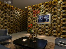 Modern 3D Embossed The Circle Wallpaper Hotel Reflective PVC Wallpaper Black And Gold Bars Wallpaper Wall Paper Roll
