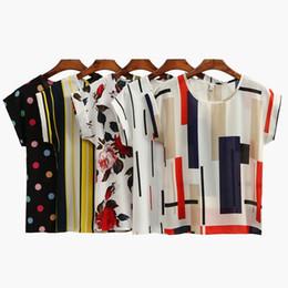 Summer Women Chiffon Blouses Floral Polka Dots Stripes Print Casual Blouse Shirt O-Neck Short Sleeve Beach Tee Tops White Black JCG1103