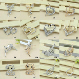 32 Style Pins Brooches for sale Crystal Rhinestone Flower Bouquet Butterfly Cat Brooch Pins jewelry wholesale discount -0003DR