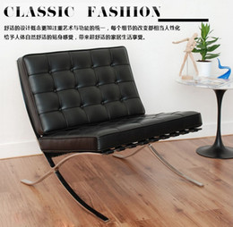 Wholesale Designer creative furniture genuine leather sofa Barcelona chair leisure chair black single person office sofa