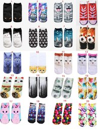 Wholesale 20 Styles Cat Cartoon Socks Women Hot Unisex socks Ladies Socks Original SuFeng Animal Food D Printing Ship Warm High quality Socks