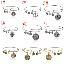 Wholesale 7 styles Fashion Bangle life of tree LOVE Anchor Sister Alex And Ani Dangle Three Retro Pattern DIY Bracelets Bangles Jewelry