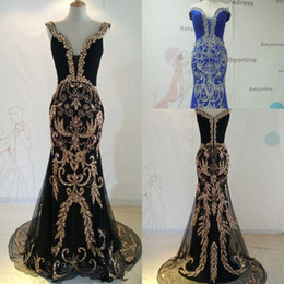 Wholesale 2016 Luxury Designer Evening Dresses Mermaid Off the Shoulder Crystal Sequined Bling Royal Blue Tulle Prom Dress Formal Pageant Gowns P