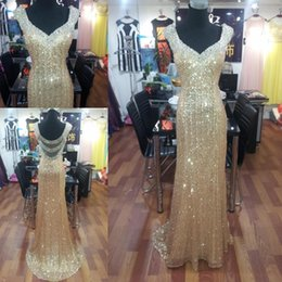 Gold Sequins Evening Dresses Beading Sheer Backless Charming Crystal Prom Dress High Quality Bling Party Gowns 2015 Real Images
