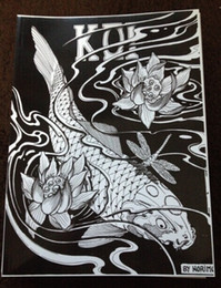 Wholesale Japanese Tattoo Flash Designs Book by Horimouja Jack Mosher A4 Vol the carp fish Design Sketch Flash Tattoo Book