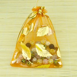 Gold Leaves Organza Gift Bags Orange Color Jewelry Gift Pouch Bags Drawstring Wedding Gift Packaging SK606
