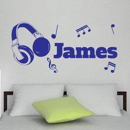 Wholesale Personalised Any Name Vinyl Wall Sticker DIY Headphones Music Notes Art Decal for Room Decor