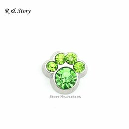 Wholesale August Peridot Light Green Stones Pet Paw Floating Charms fit Floating Locket LFC_1549