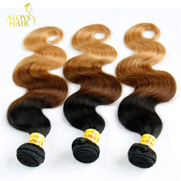 Ombre Malaysian Body Wave Human Hair Extensions Three Tone 1b 4 27# Brown Blonde Grade 8A Ombre Malaysian Virgin Hair Weave Bundles 3Pcs