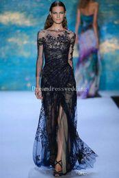 Wholesale 2016 Elie Saab Bateau Mermaid Lace Black Sexy Designer Long Sleeve Evening Dresses Fashion Illusion Prom Gowns Celebrity Dresses