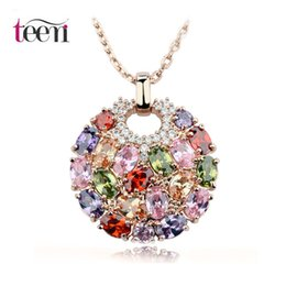 Wholesale Teemi Hot Sale K Rose Gold Plated Multicolor Top Quality Cubic Zircon Paved Stone Big Round Women Pendant Necklace Party Jewelry