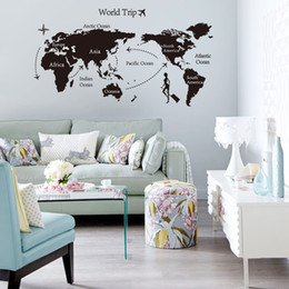 Wholesale 2015 Best sales Travel World Map shop window stickers decorative glass door stickers decorations props removable