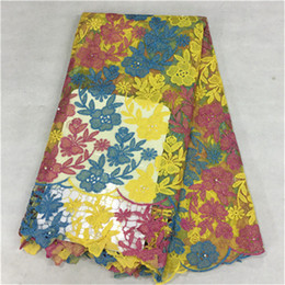 Charming three color flower design african lace fabric with beads french net lace cloth for party dress BN16-6,5yards pc
