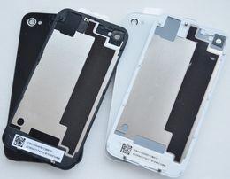 Puerta de batería de la alta calidad 100PCS / Lot para la cubierta de cristal trasera de la cubierta de la placa 4G del panel trasero de la puerta de la cubierta del iPhone 4S Negro / blanco DHL desde iphone vidrio de alta calidad proveedores