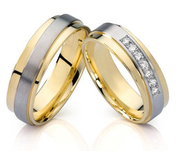Wholesale-classic mens and womens 18k yellow gold plated titanium his and hers engagement promise rings wedding bands for couples anel