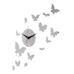 Wholesale Best Promotion DIY Flying Butterfly Wall Clock Mirror Acrylic Home Room Office Decor Sticker Lowest Price