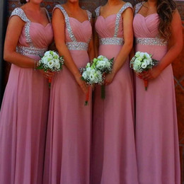 Stunning Royal Blue Dusky Pink Bridesmaid Dresses Long Formal Beaded Cap Sleeves Wedding Party Maid of Honor Gowns Cheap High Quality