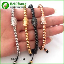BC Anil Arjandas Fashion Men Black Bracelet,Pave Setting Black Buddha Connector & 4mm Round Bead Braiding Men Macrame Bracelet BC-228