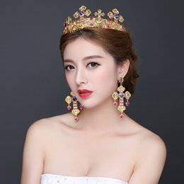Wholesale Best Sale Bridal Tiaras With Rhinestone Shining Design Earings Bridal Accessories Wedding Jewelry Set Hair Accessories Red Wedding Cheap