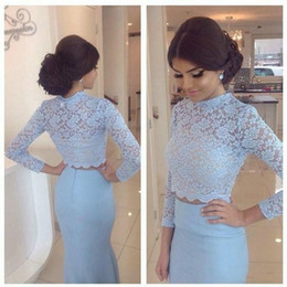 Two Pieces Prom Dresses Arabic Lace Light Blue Long Sleeve Formal Gowns Plus Size Party Dress Quality