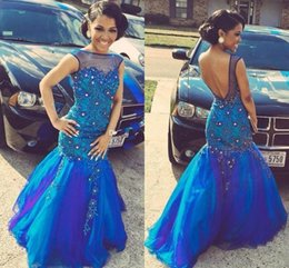 Luxurious Evening Dresses Formal Wear Royal Blue Beaded Sheer Red Carpet Dresses Vestido Celebrity Evening Prom Gowns Formal Party Gown
